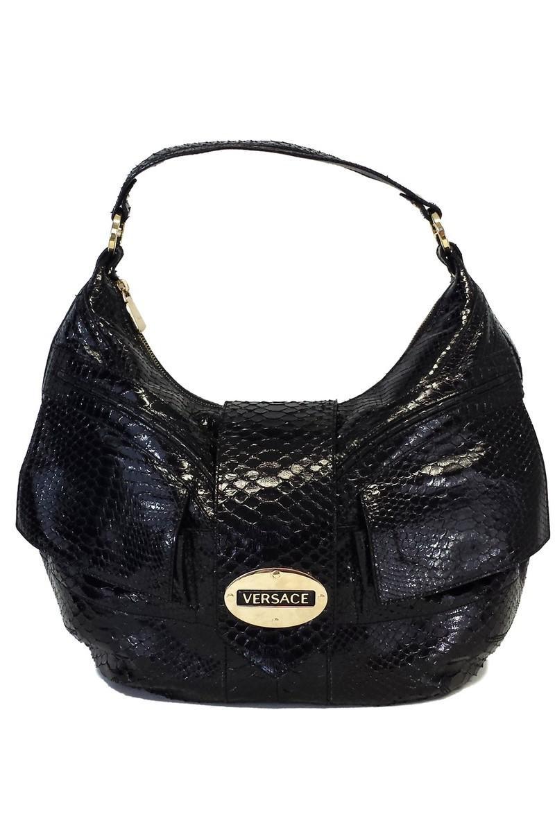 6e1881a26c Versace - Black Patent Snakeskin Shoulder Bag - Lyst. View fullscreen