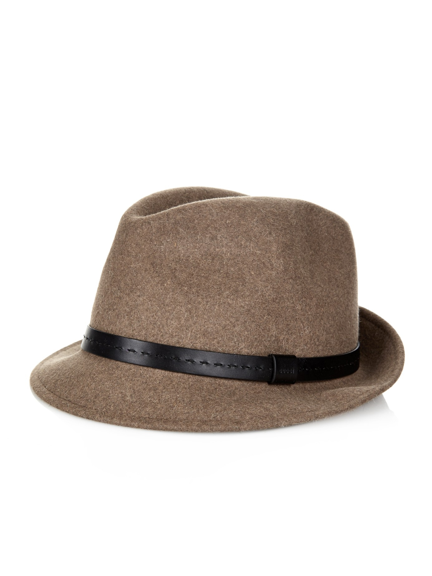 4bf76592526 Lyst Gucci Leather Band Felt Trilby In Natural For Men