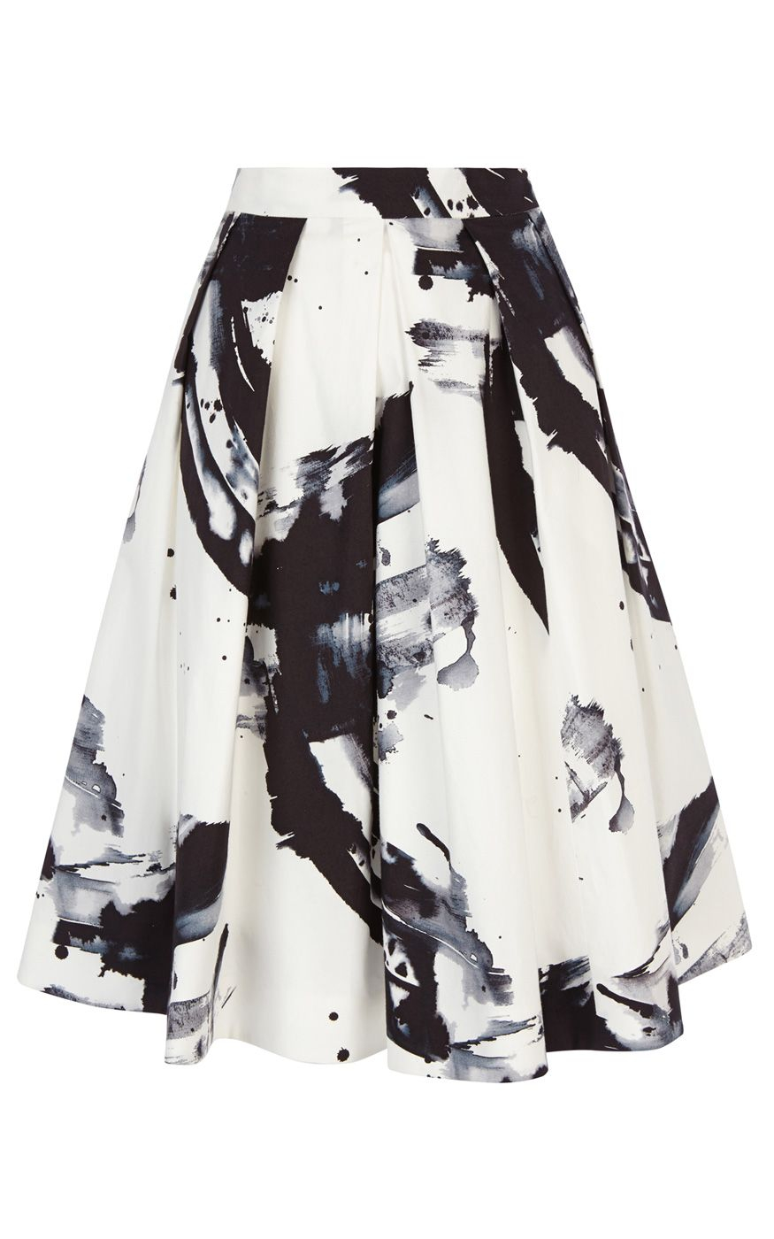 Karen millen Paint Printed Full Skirt in Black | Lyst