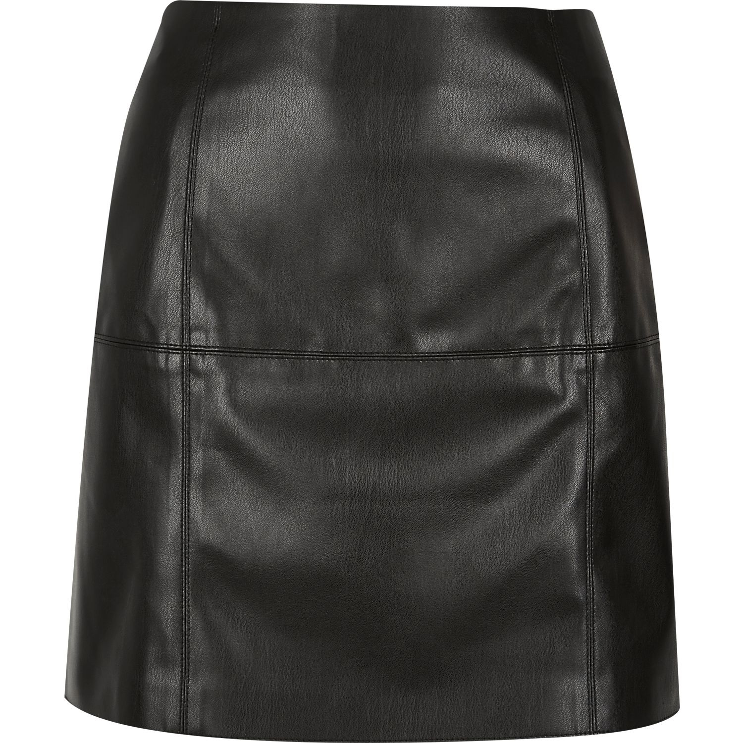 river island black leather look mini skirt in black lyst