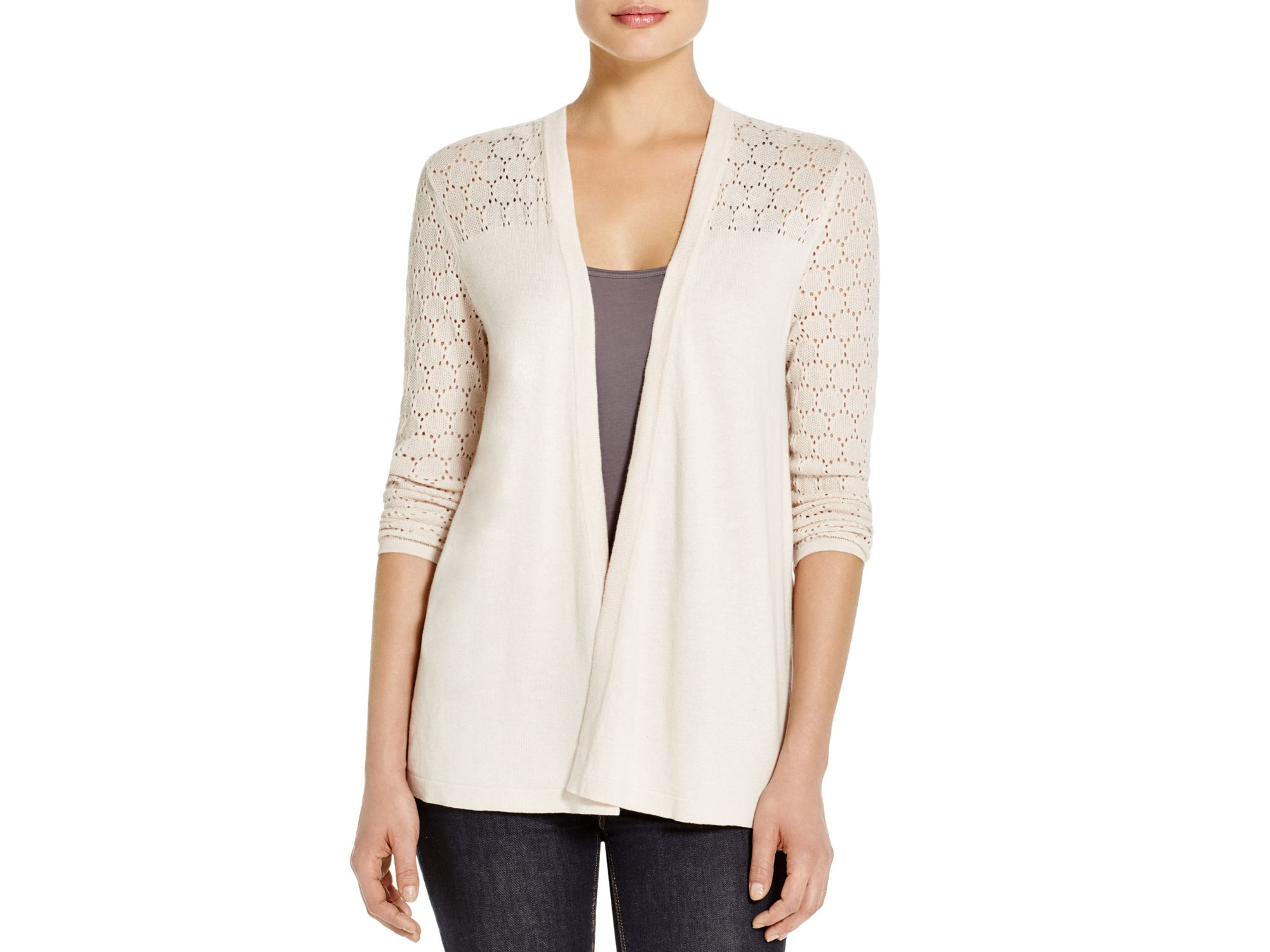 Avec Lace-up Pointelle Cardigan in White | Lyst