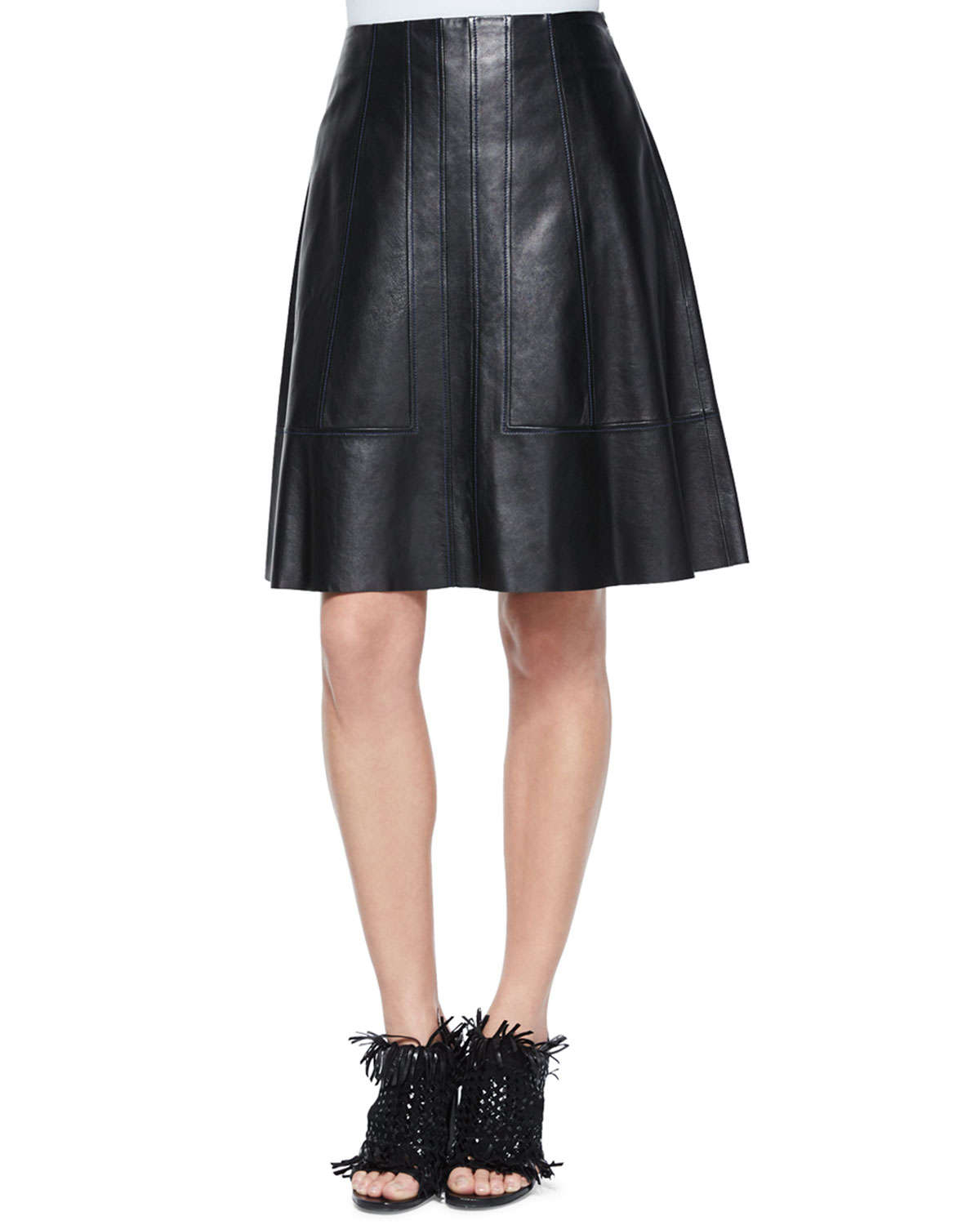 Proenza schouler Flared Lambskin Leather Skirt in Black | Lyst