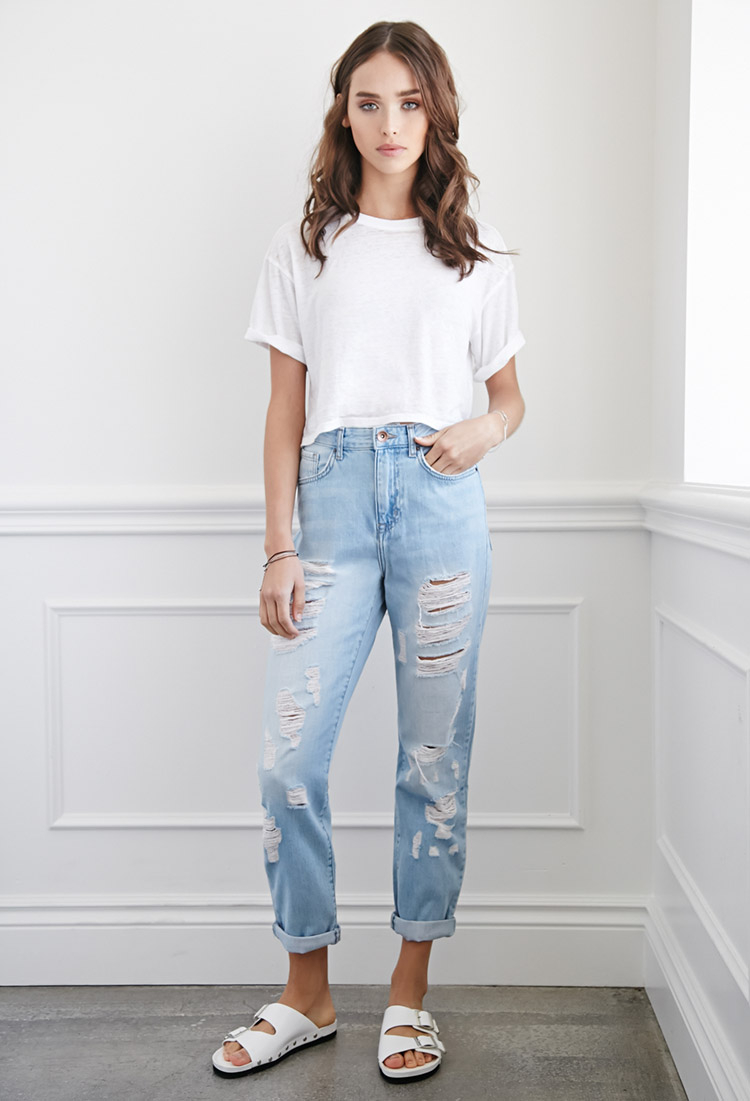 forever 21 distressed boyfriend jeans you 39 ve been added to. Black Bedroom Furniture Sets. Home Design Ideas