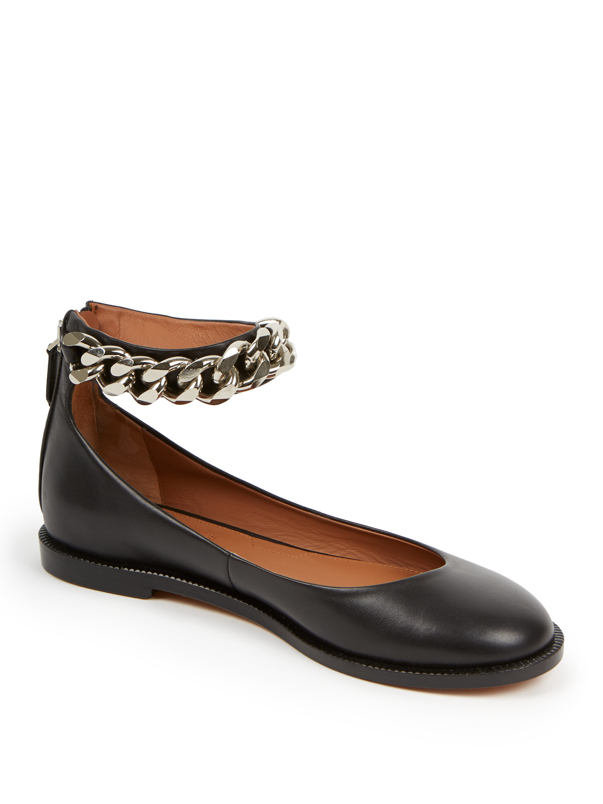 01986c6d518 Lyst - Givenchy Chain-trimmed Leather Ankle-strap Flats in Black