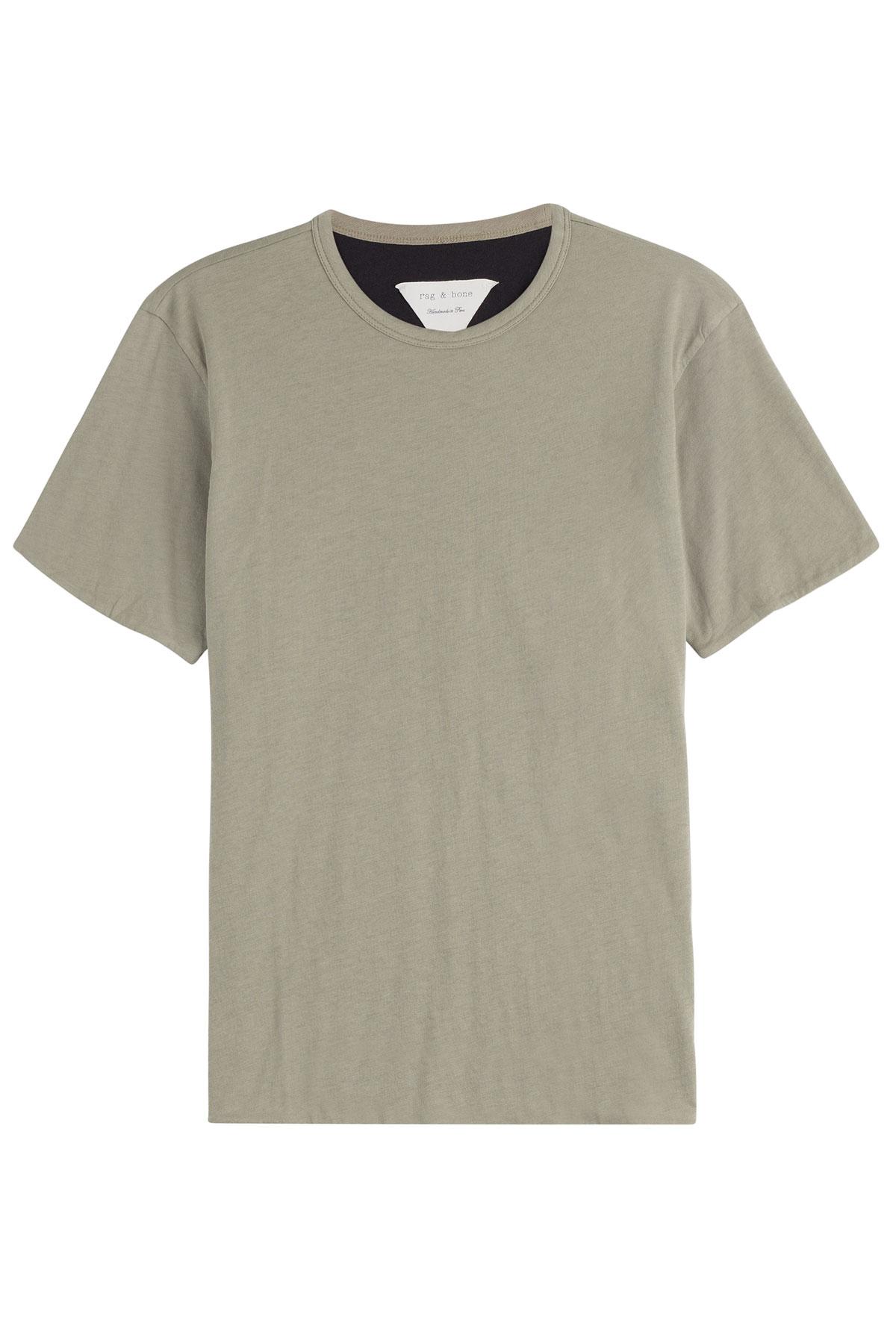 Rag Bone Reversible Cotton T Shirt Green In White For