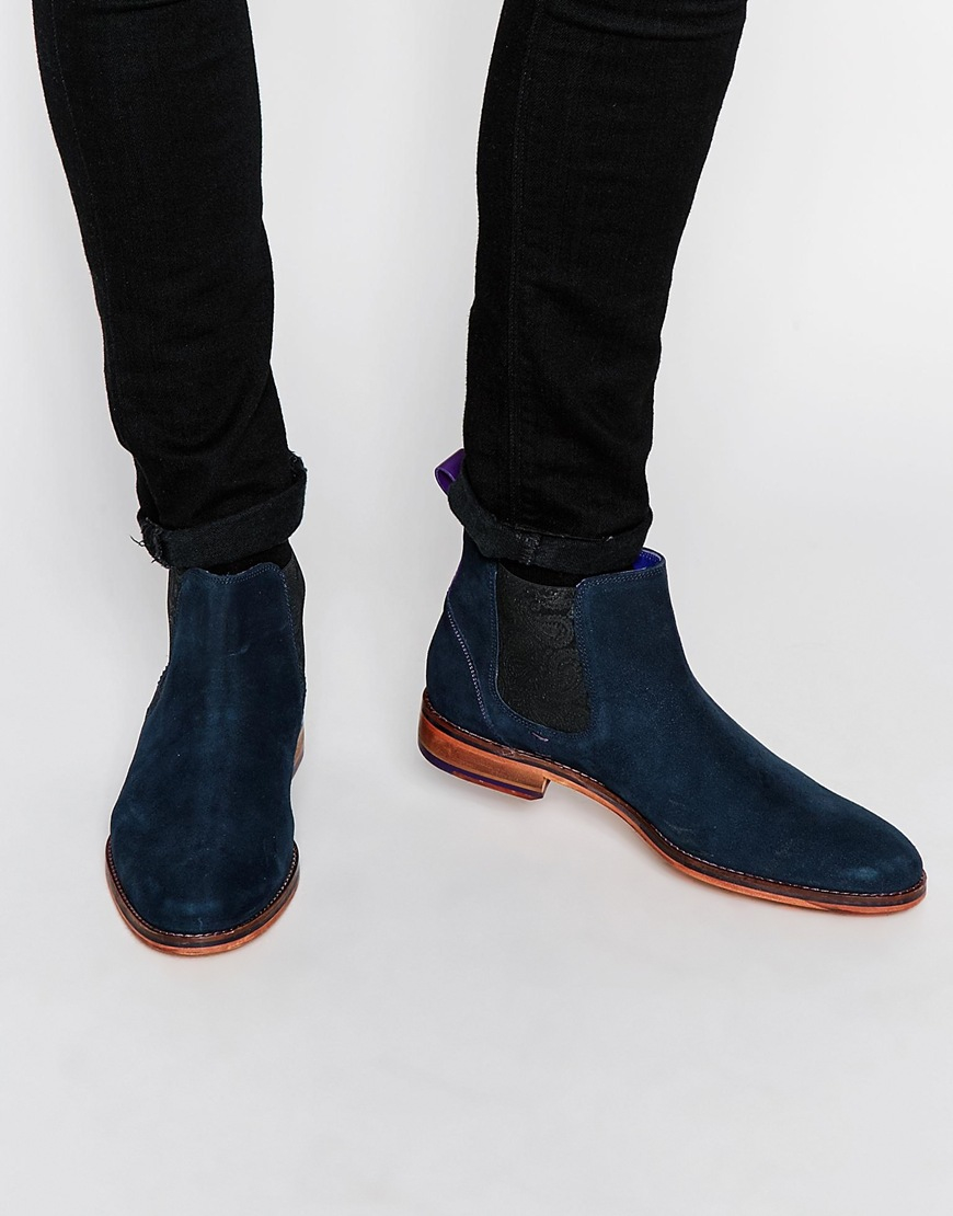 Ted Baker Blue Camroon Suede Chelsea Boots for men