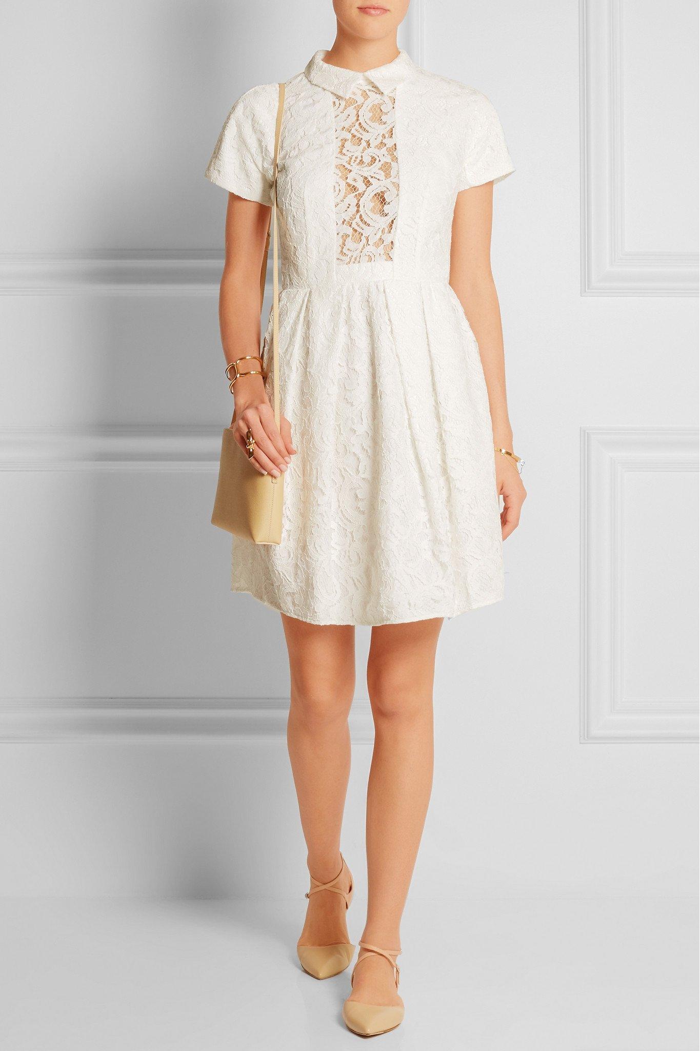Lyst - Carven Cutout Guipure Lace Mini Dress in White