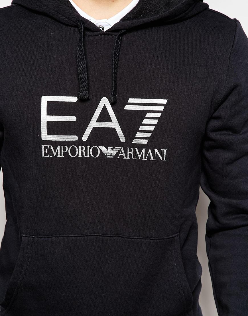 ea7 emporio armani hoodie with large logo print in black. Black Bedroom Furniture Sets. Home Design Ideas