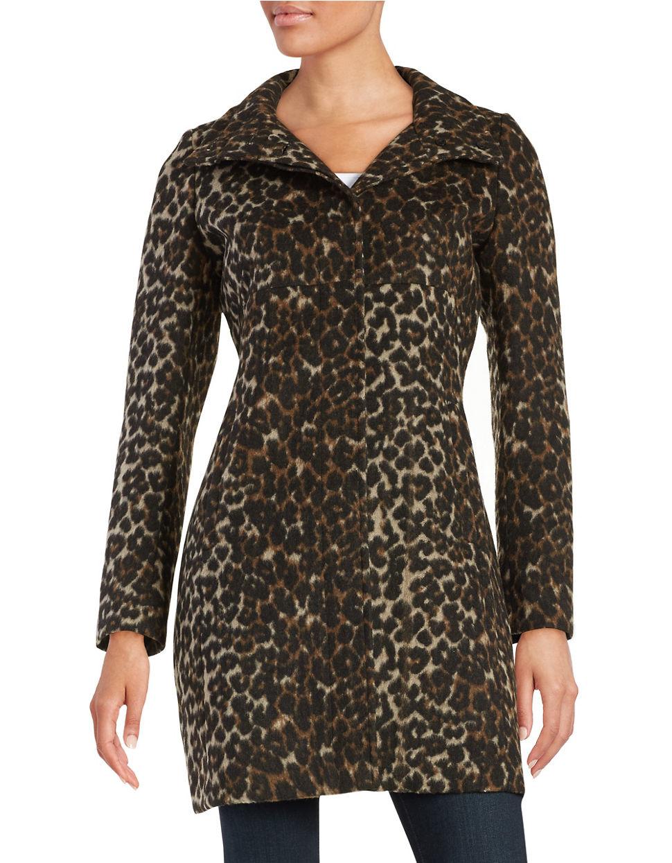 Via Spiga Wool Leopard Print Coat Lyst