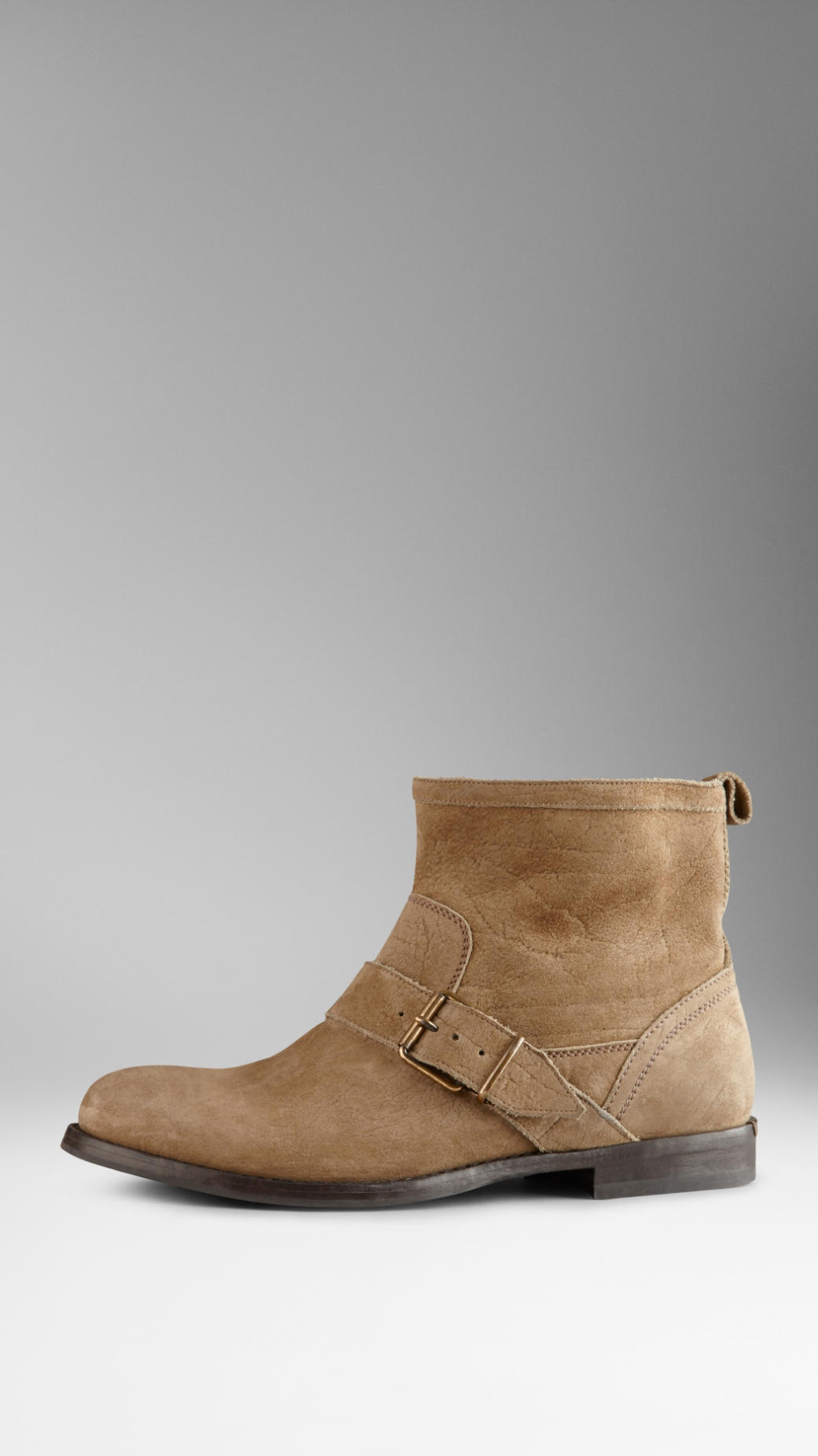 b4c1dce2aba Lyst - Burberry Buckle Detail Suede Ankle Boots in Natural