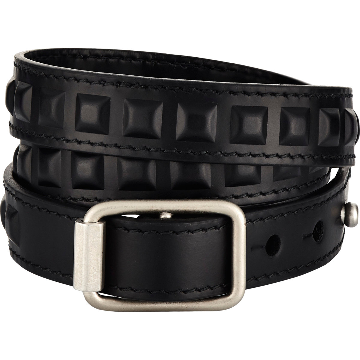 Embossed Grid Triple Wrap Bracelet