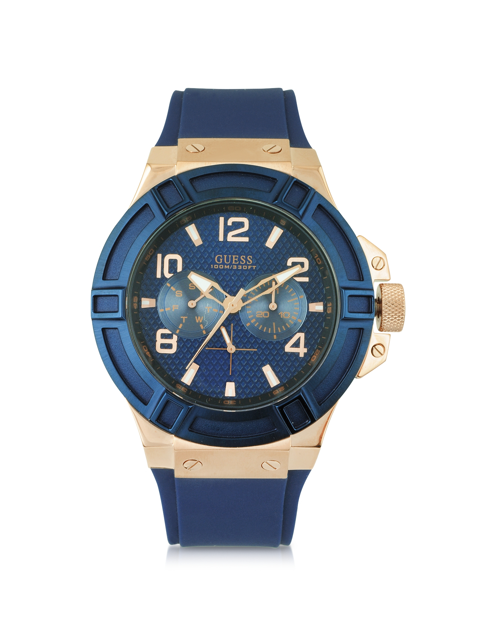 guess rigor rose gold stainless steel mens watch in blue. Black Bedroom Furniture Sets. Home Design Ideas