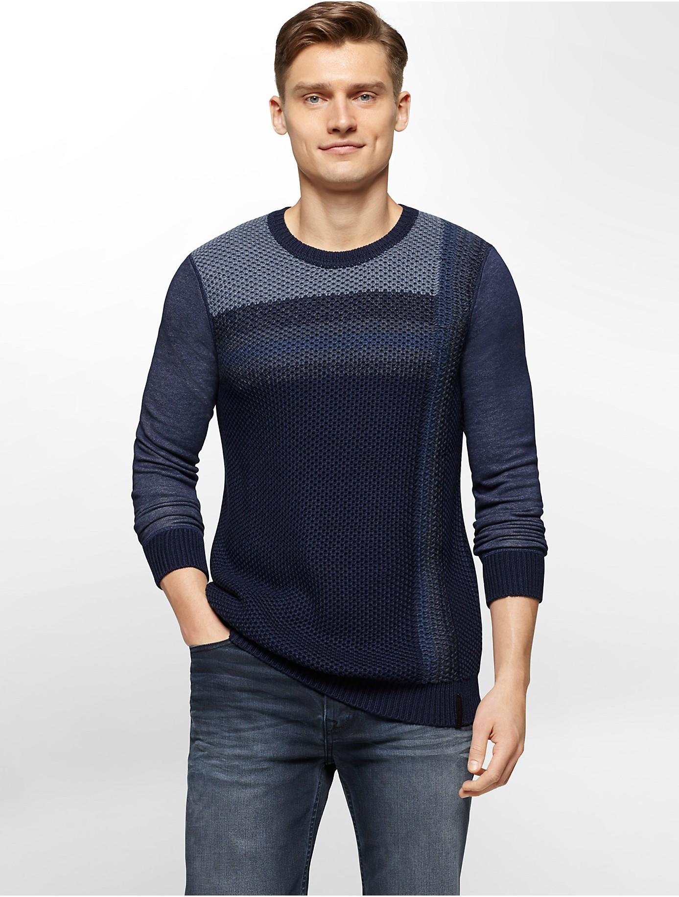 lyst calvin klein jeans vertical ombre knit sweater for men. Black Bedroom Furniture Sets. Home Design Ideas