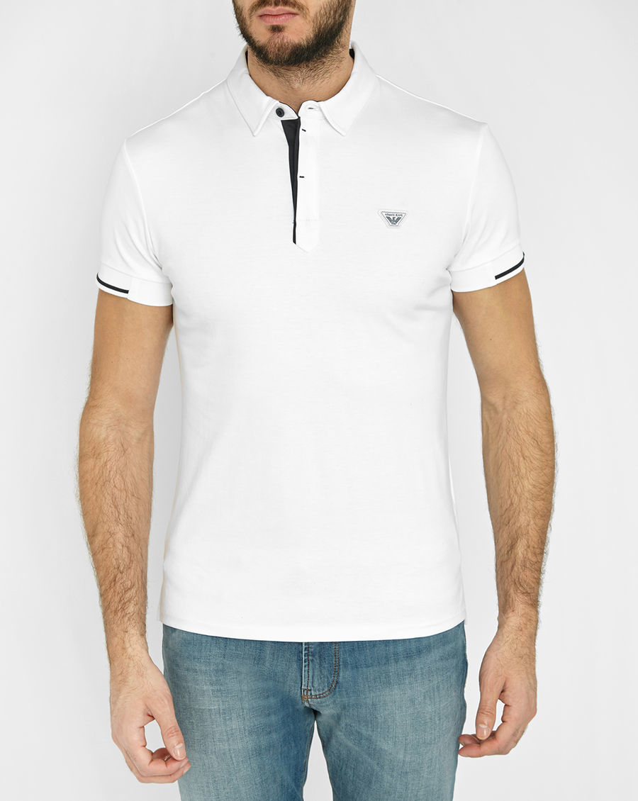 Armani jeans navy polo shirt with white contrasts in blue for Polo shirt and jeans