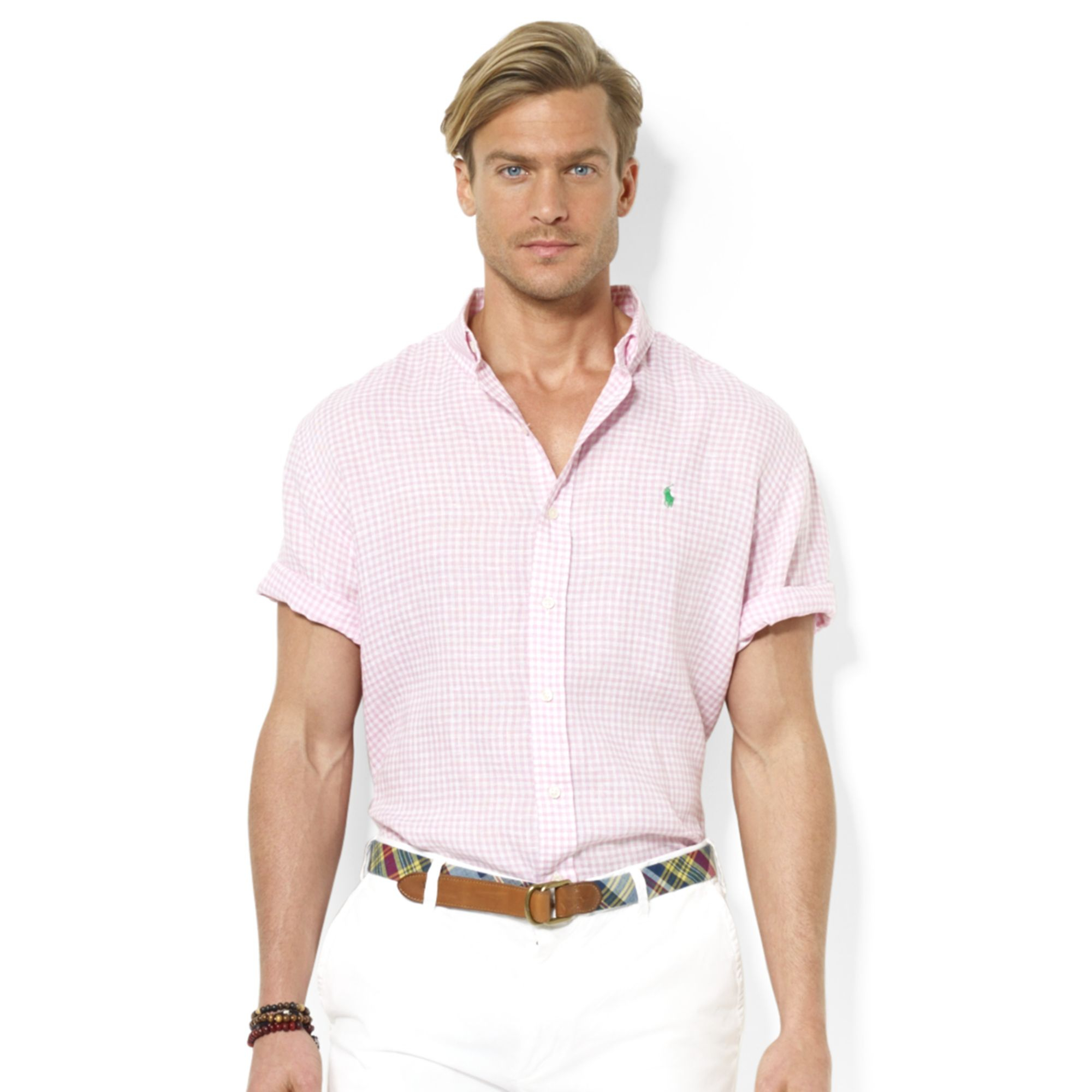 Ralph lauren Polo Classicfit Shortsleeve Checked Linen Sport Shirt ...
