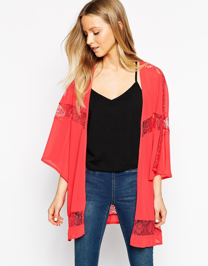 Girls on film Longline Kimono With Lace Inserts in Pink | Lyst