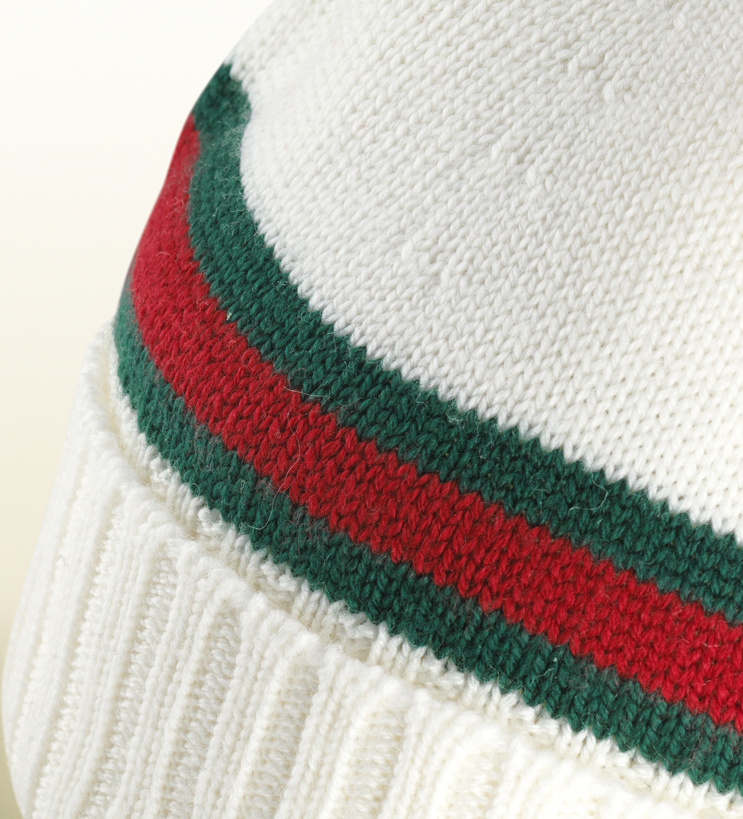 GUCCI white green-red-green WEB knit 100% Wool BEANIE SKI ... |White Gucci Hat
