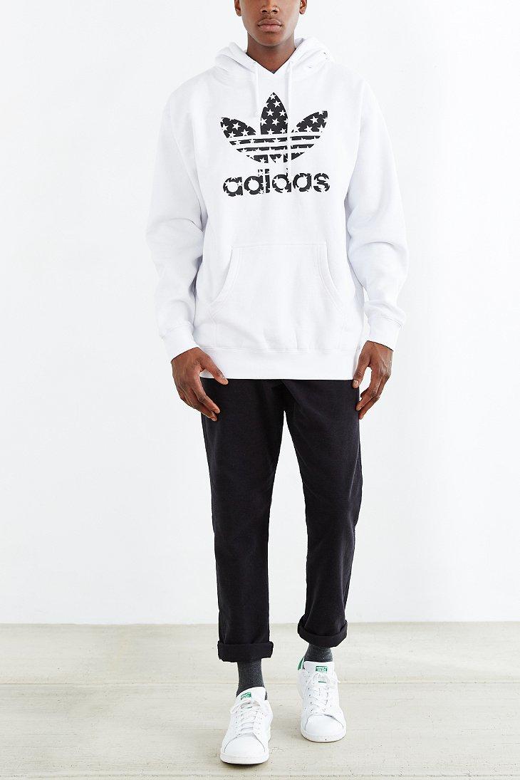 adidas originals star filled pullover hoodie sweatshirt in. Black Bedroom Furniture Sets. Home Design Ideas