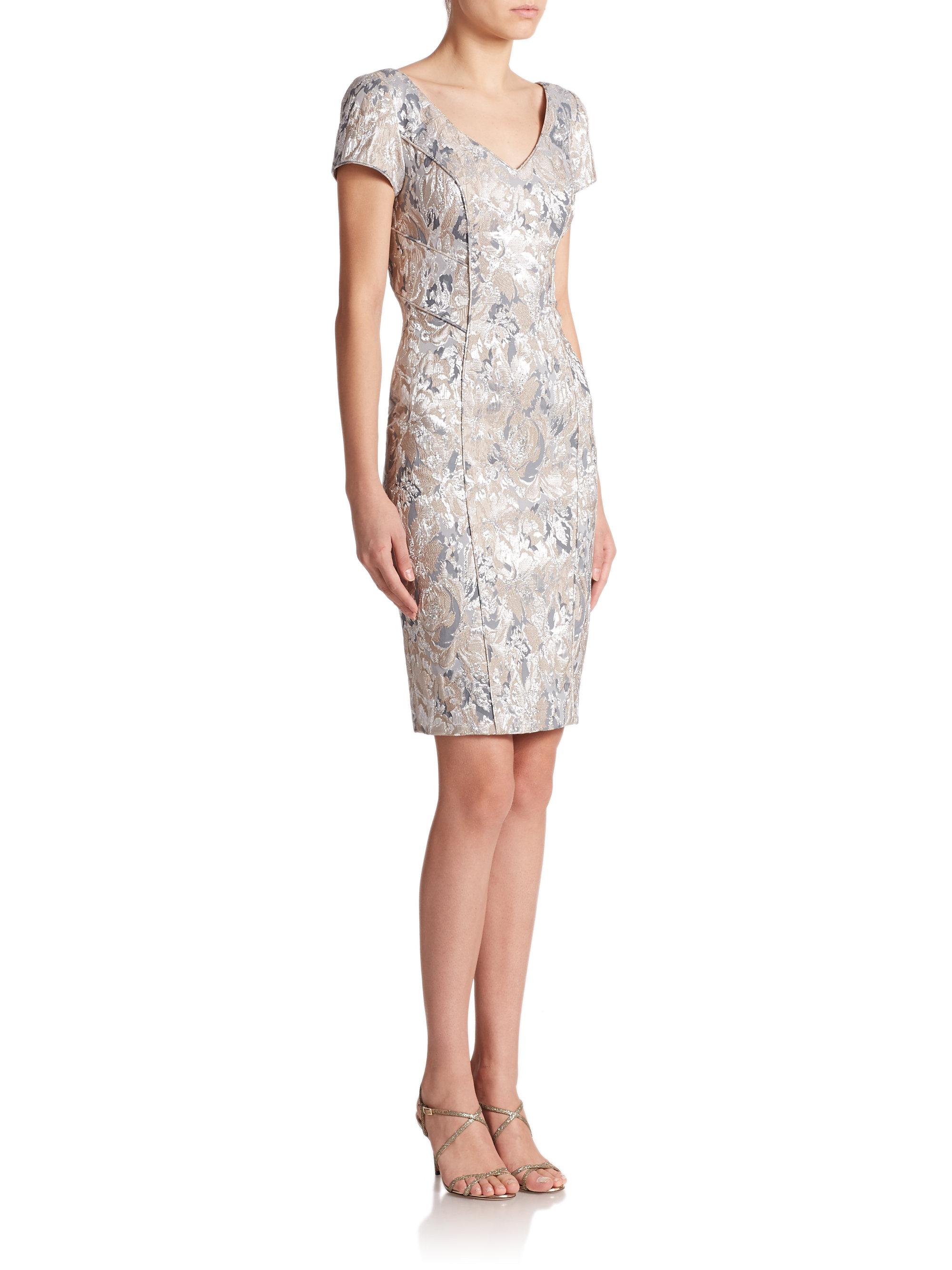 Theia Floral Brocade Sheath Dress In Metallic Lyst