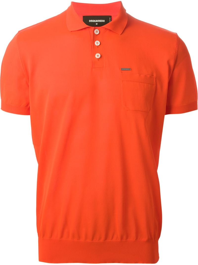 Lyst dsquared classic polo shirt in orange for men for Orange polo shirt mens