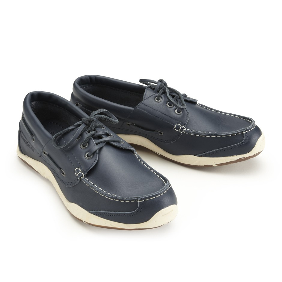 henri lloyd annapolis leather deck shoe in blue for