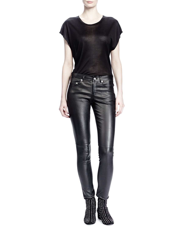 Lyst Saint Laurent Leather Skinny Pants In Black