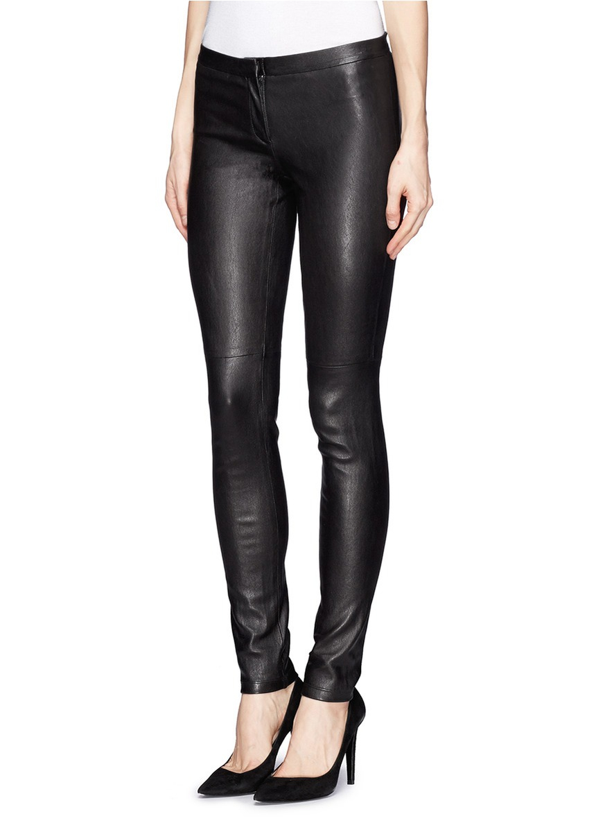 Lyst Theory Pittella Stretch Leather Pants In Black