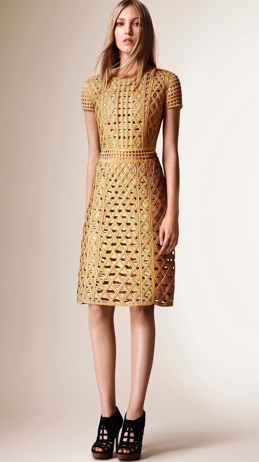 Lyst Burberry Macram 233 Tape Shift Dress In Metallic