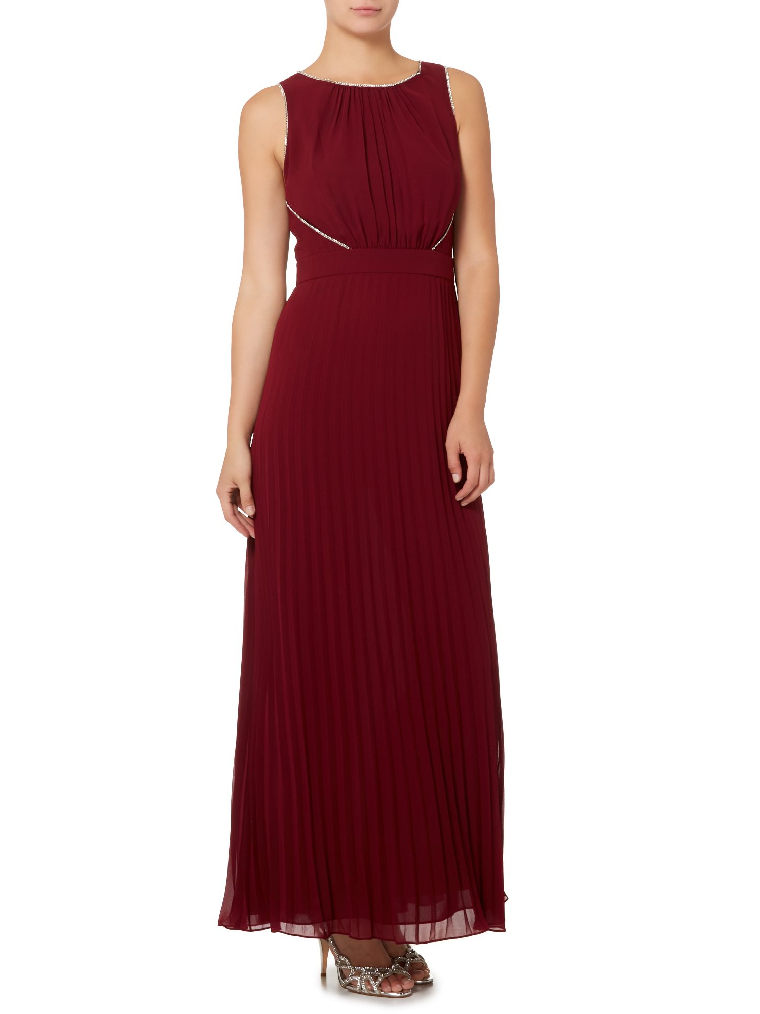 biba pleated skirt embellished maxi dress in purple lyst