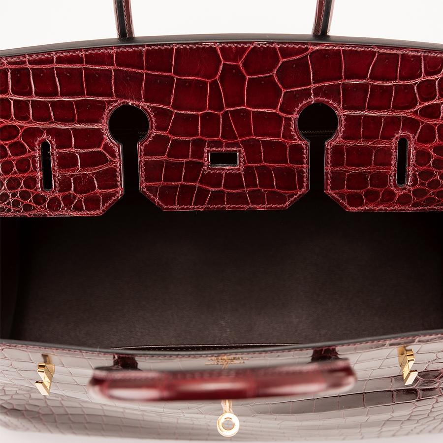 """ae087faf114c Lyst - Hermès Bordeaux Porosus Crocodile Birkin Bag €"""" 35cm in Purple"""