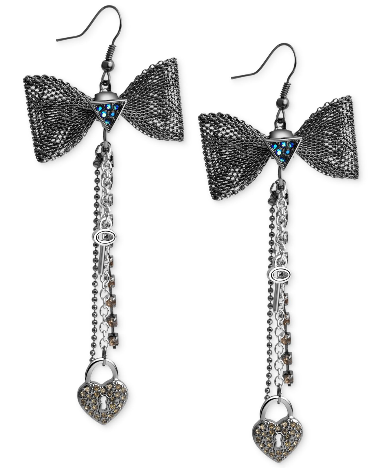 Lyst - Guess Two-tone Heart And Bow Chain Drop Earrings