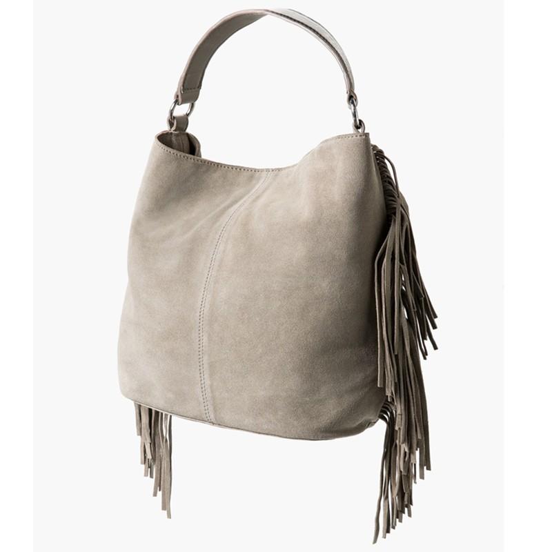 31d3649d75aa4 Mango Fringed Suede Handbag in Gray - Lyst