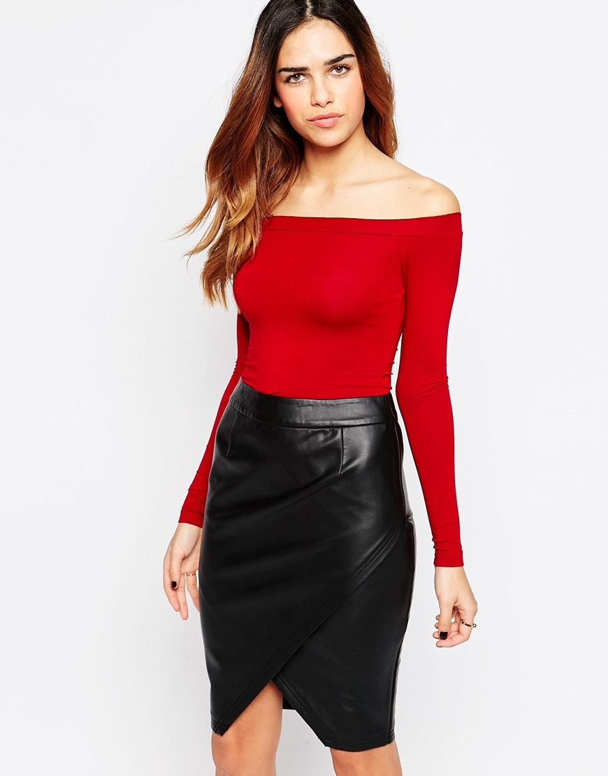 fb2d46eda4fb81 Lyst - ASOS The Off Shoulder Top With Long Sleeves in Red