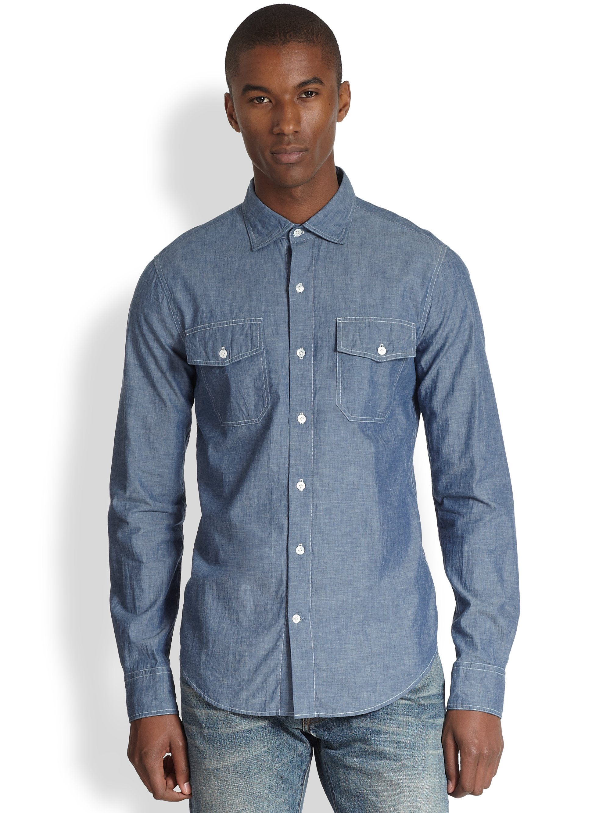 vince chambray button down shirt in blue for men lyst