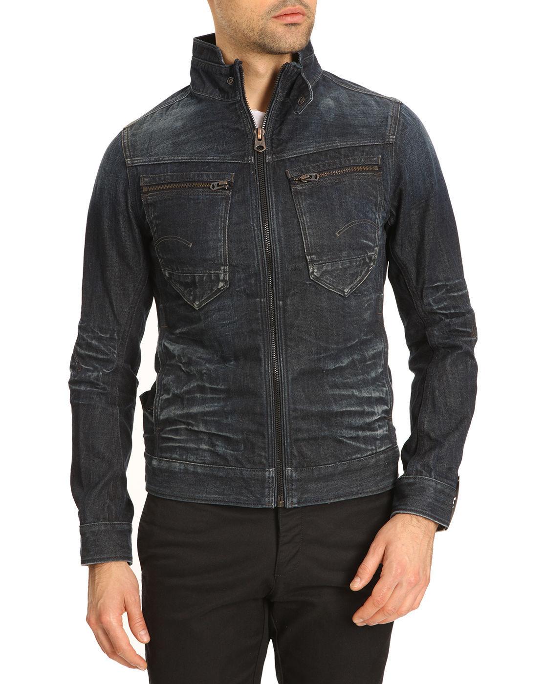 g star raw arc zip 3d slim denim jacket in blue for men denim lyst. Black Bedroom Furniture Sets. Home Design Ideas