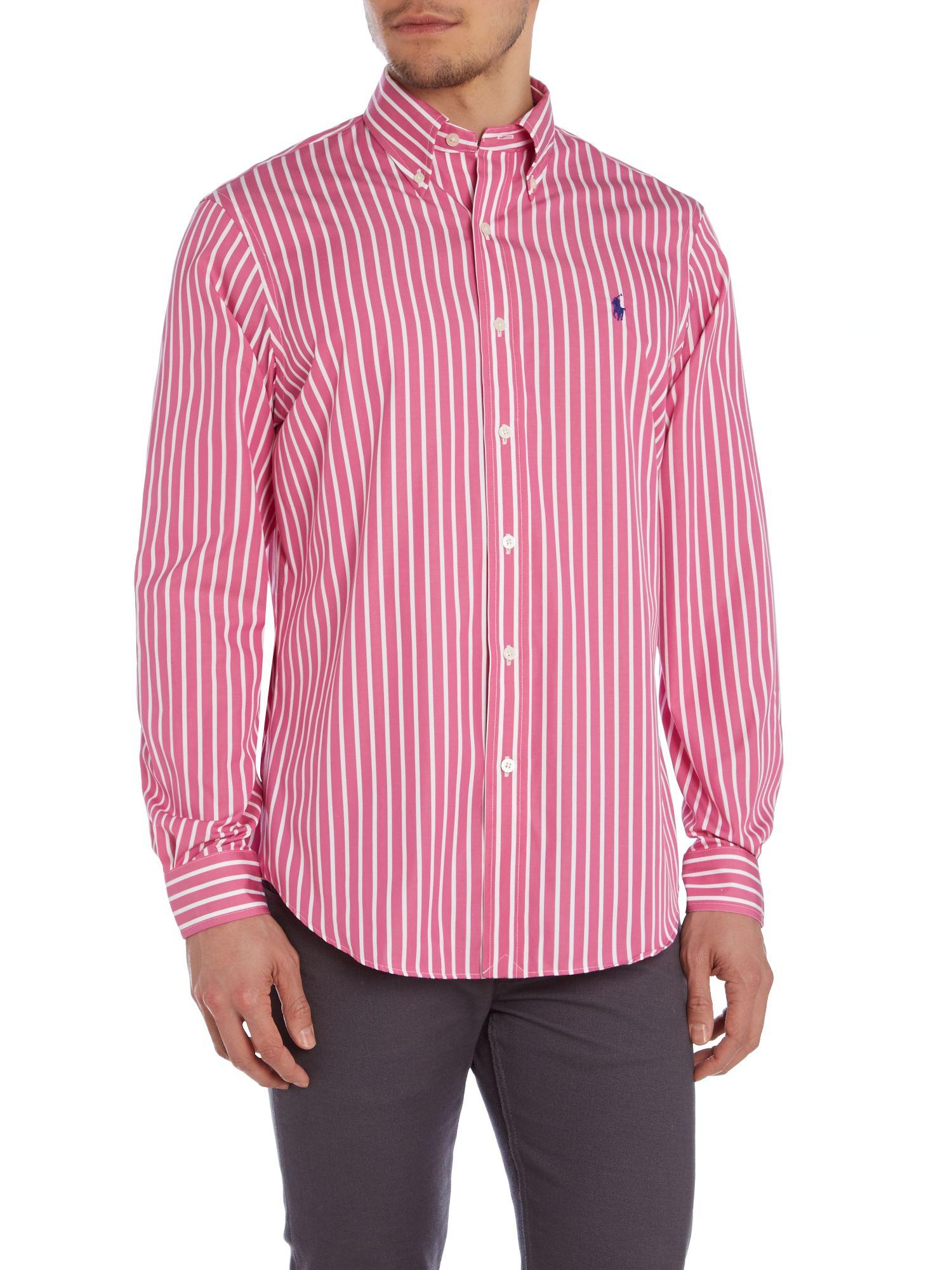 Ralph lauren golf stripe classic fit non iron polo shirt for Men s no iron dress shirts