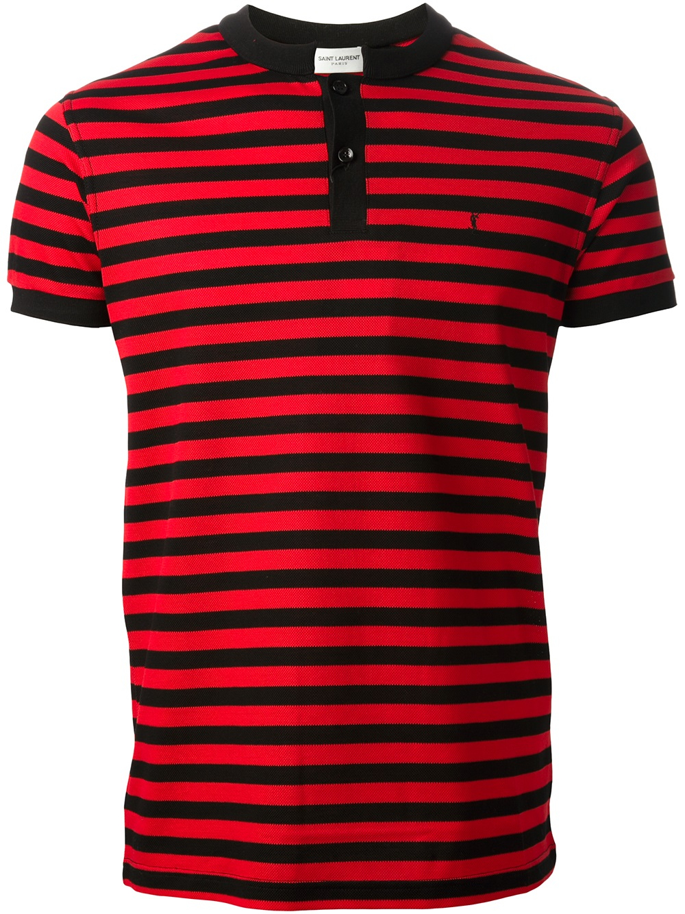 Lyst Saint Laurent Striped Polo Shirt In Red For Men