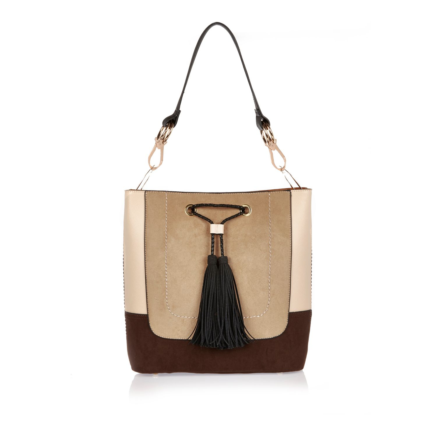 a4765d002fd River Island Cream Color Block Slouch Bucket Bag in Natural - Lyst