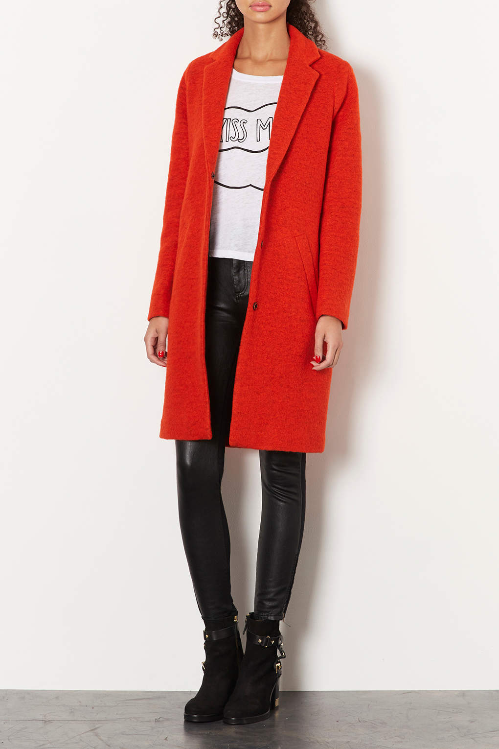 Topshop Wool Boyfriend Coat in Orange | Lyst