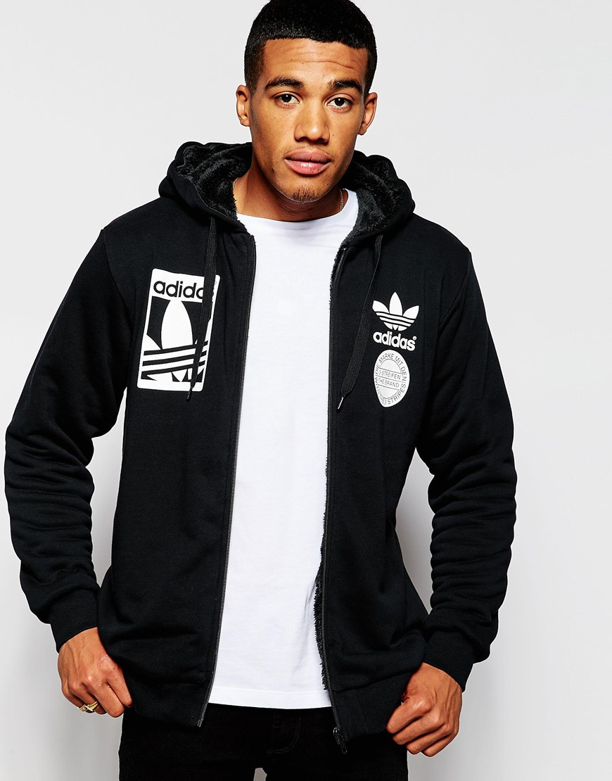 Adidas Originals Zip Up Hoodie With Fleece Lining Ab8034 In Black
