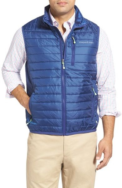 Vineyard Vines Mountain Weekend Quilted Vest In Blue For