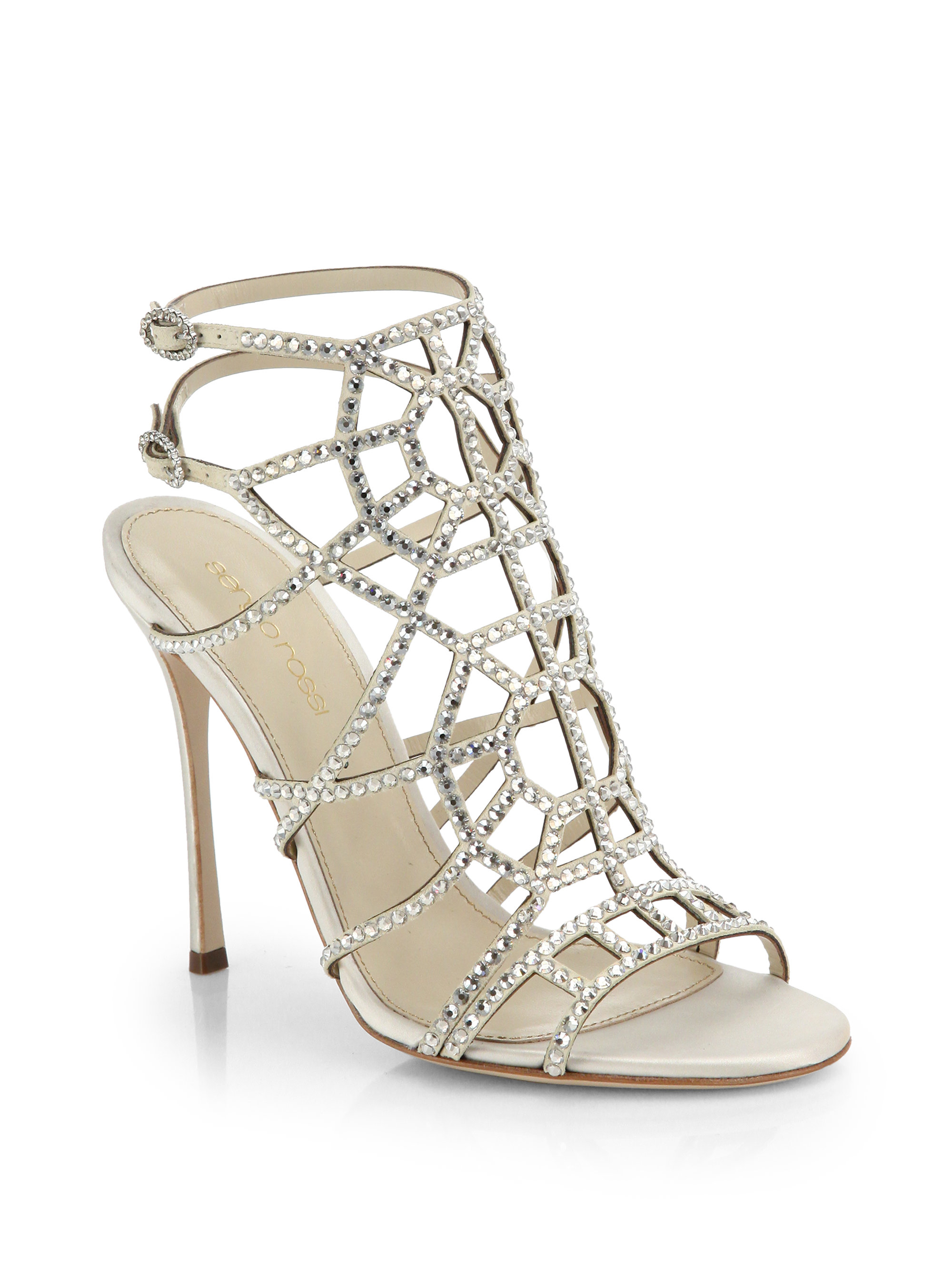 discount nicekicks free shipping amazon Sergio Rossi Crystal Cage Sandals 100% authentic sale online cksFn6
