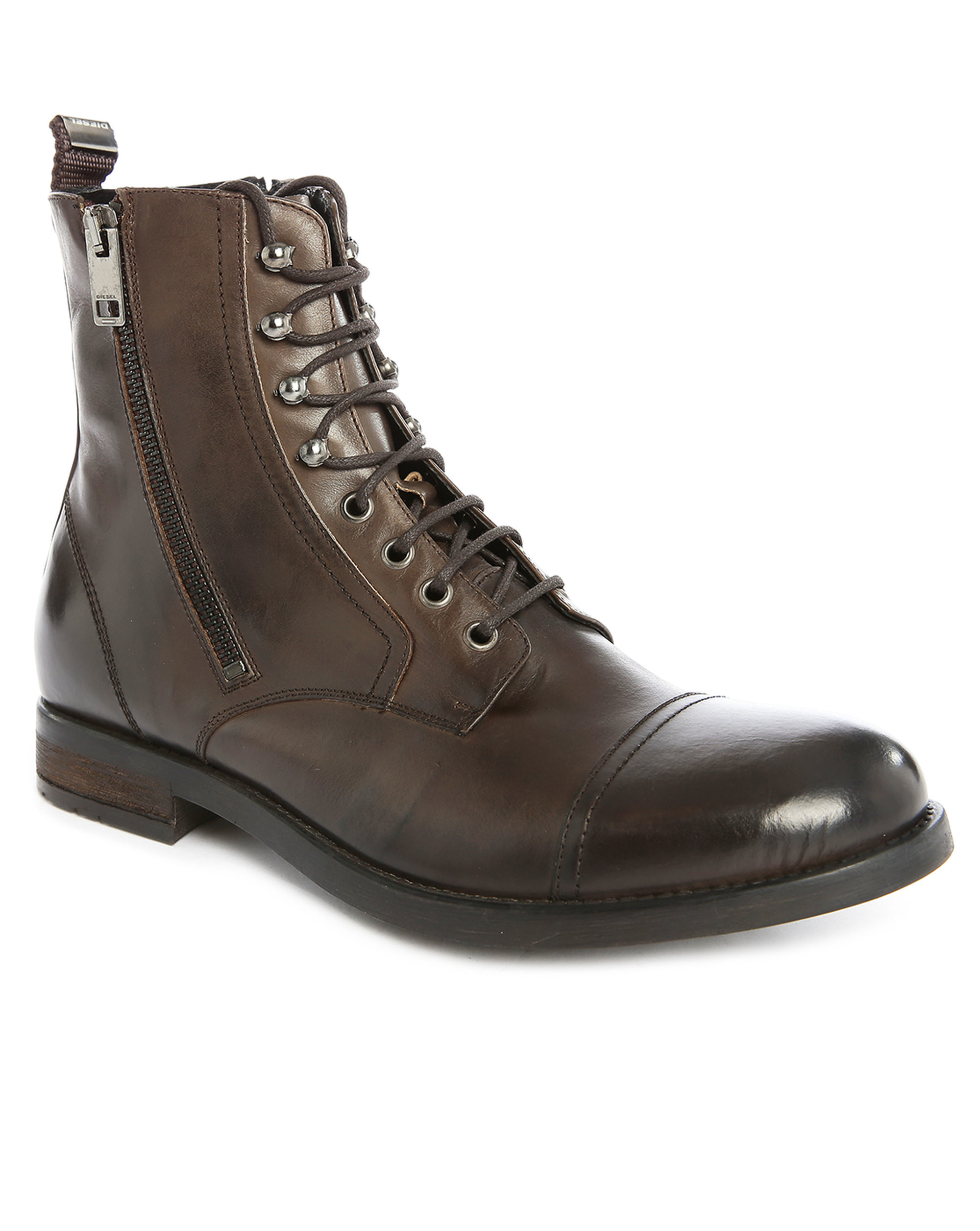 diesel d kallien brown aged leather boots in brown for