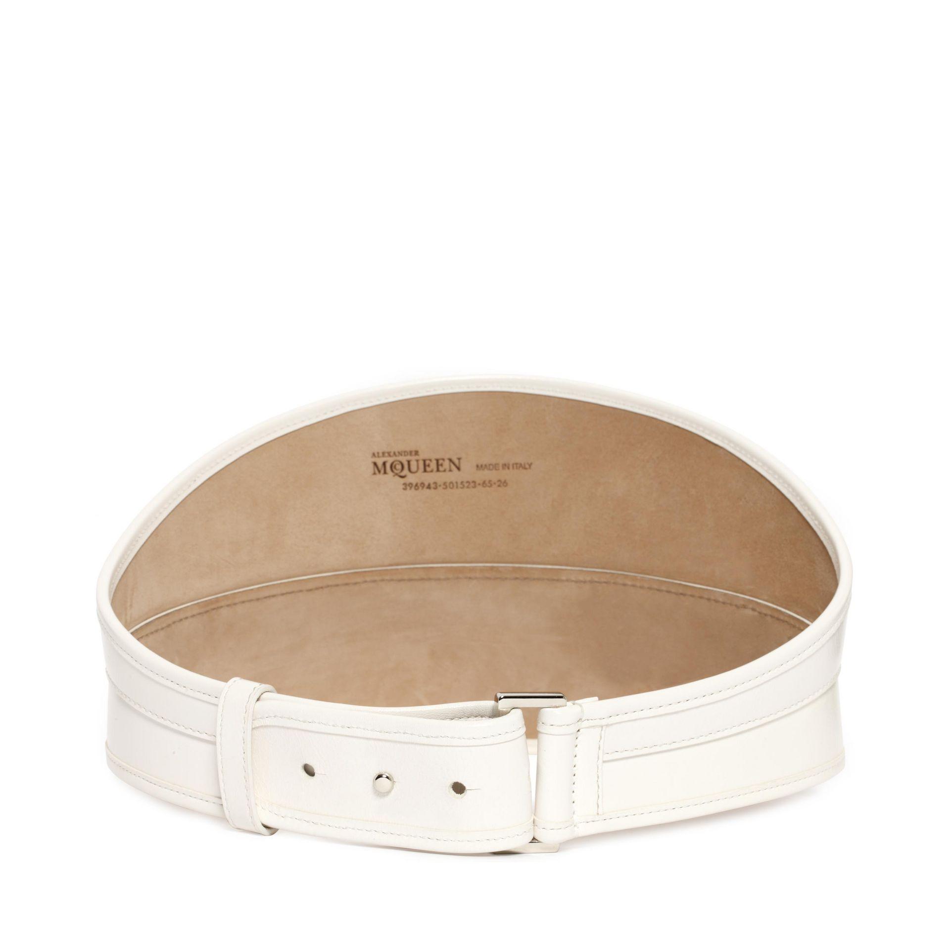 Lyst Alexander Mcqueen Bridle Leather Waist Belt In White