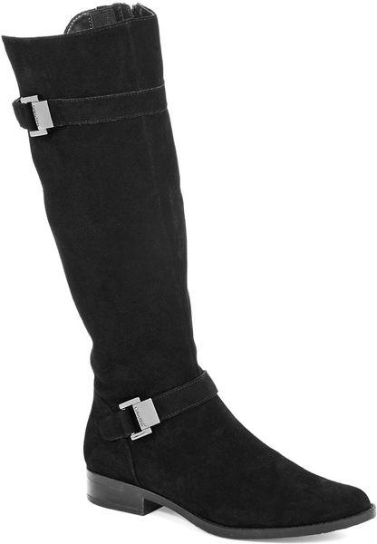 calvin klein terena wide calf suede boots in black lyst
