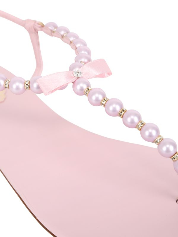 Lyst - Rene Caovilla 10mm Pearls Bow Leather Sandals in Pink