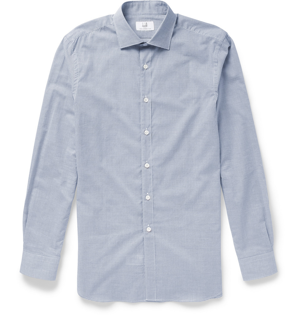 Dunhill slim fit check cotton shirt in blue for men lyst for Slim fit cotton shirts