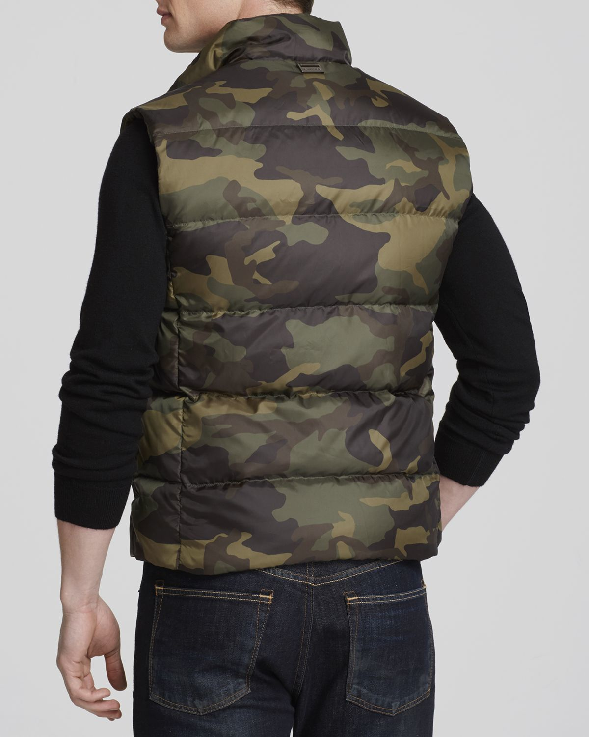 Lyst Michael Kors Camo Down Vest In Green For Men