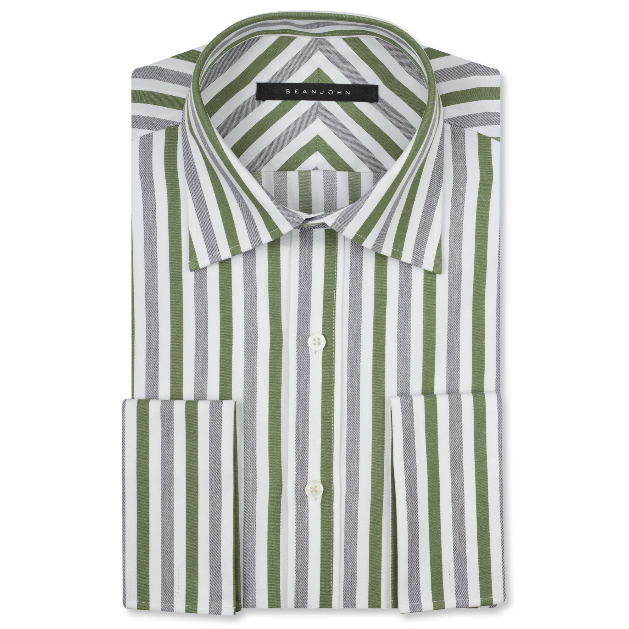 Sean john big and tall green and grey stripe french cuff for Big and tall french cuff dress shirts