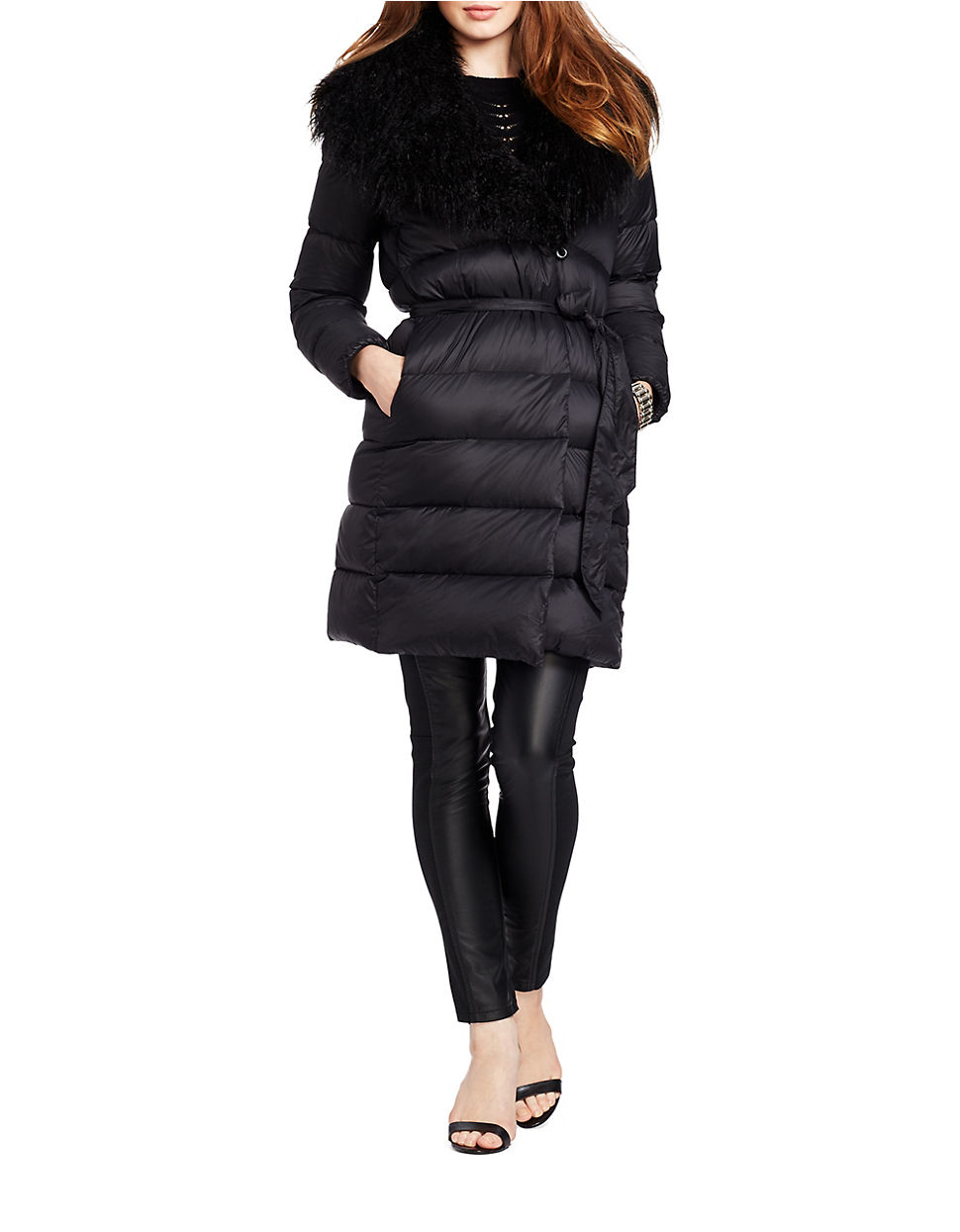 Lauren by ralph lauren Faux Fur-trimmed Quilted Down Wrap ...